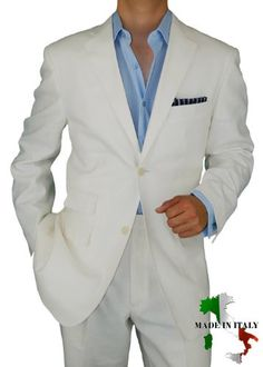 Bianco Brioni Made in Italy Linen Mens Suit 2 Button Flat Front Pants Ticket Pocket Custom Working Buttonholes White