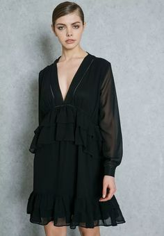 Lost Ink black Ruffled Plunge Dress 0501115020100001 for Women Online Shopping in Riyadh, Jeddah, Saudi - ✓ Free Delivery ✓ 14-day Exchange, ✓ Pay Cash