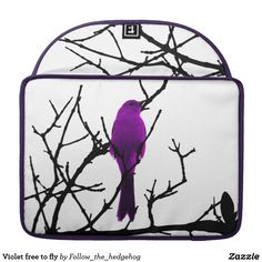 """Violet free to fly sleeve for MacBook pro Free to fly Violet version. Bird on a black tree on the front with Japanese """"free to fly"""" quote on the back. Charming black branches on the front. Check out the other colors."""