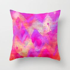BOLD QUOTATION, Revisited - Decorative 16x16 18x18 20x20 Pillow, Throw Cushion Cover Intense Raspberry Pink Abstract Watercolor Ikat Pattern by EbiEmporium on Etsy https://www.etsy.com/listing/159430925/bold-quotation-revisited-decorative