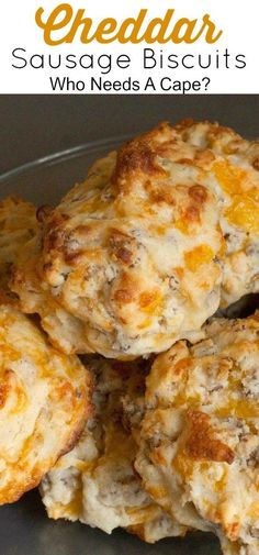 Our family loves Cheddar Sausage Biscuits! Loaded with cheesy goodness and sausage they make a great breakfast or lunch item! Our family loves Cheddar Sausage Biscuits! Loaded with cheesy goodness and sausage they make a great breakfast or lunch item! Sausage Breakfast, Breakfast Dishes, Breakfast Time, Best Breakfast, Breakfast Biscuits, Avacado Breakfast, Fodmap Breakfast, Yummy Breakfast Ideas, Chicken Breakfast Recipes