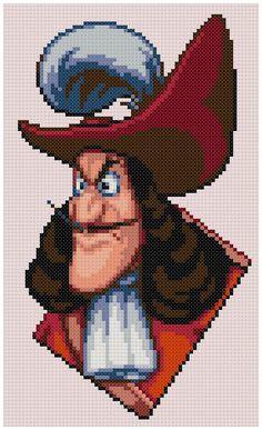 PDF Cross Stitch pattern 0029.Captain Hook Peter Pan by PIXcross