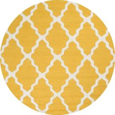 Trellis Gold 6 ft. x 6 ft. Round Area Rug