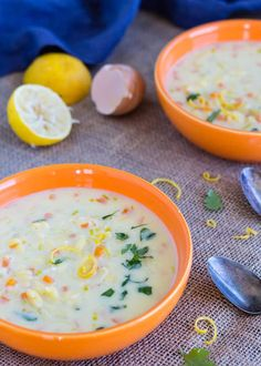 Silky rich dairy-free vegetarian version of classic Greek egg and lemon soup, avgolemono. With gluten-free or regular orzo pasta. Quick and easy to make with vegetable broth powder. via @lettyskitchen