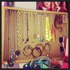 CONSIDER: Cork board could serve as jewelry-storage option, although it would be less solid/stable than peg board. Probably also constrains you to smaller dimensions than peg board.