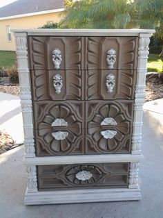 Vintage decorative dresser in ASCP coco and pure white, pretty original hardware. Please check out https://www.facebook.com/DitsyDecor