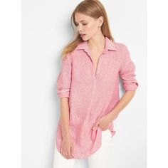Gap Women Linen Stripe Popover Tunic (70 NZD) ❤ liked on Polyvore featuring tops, tunics, pink stripe, tall, red tunic, red striped top, gap tunic, striped top and red stripe top