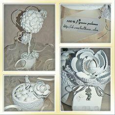 Топиарий из ракушек. Свадебный. Для украшения свадебного интерьера. Эксклюзивные подарки.