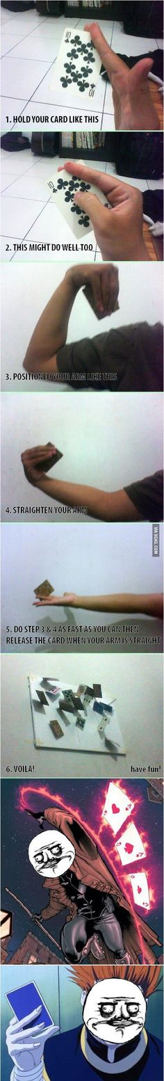 Basic technique to throw playing cards More memes, funny videos and pics on 9gag Funny, Funny Jokes, Pranks Hilarious, Fun Pranks, Throwing Cards, Things To Do When Bored, Card Tricks, Useful Life Hacks, Fun Facts