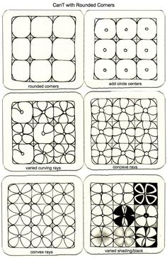 More variations of tangle Can T, by Chris Titus, CZT. Zentangle.