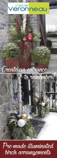 Potted Christmas arrangements are all you need to create a Winter Wonderland in your entryway! Using birch trunks, Christmas tree lights, Christmas Ornaments and a little bit of greenery, you can have your own custom-created outdoor Christmas decor! Christmas Urns, Potted Christmas Trees, Christmas Entryway, Christmas Yard Decorations, Christmas Flowers, Christmas Holidays, Christmas Ornaments, Christmas Porch Decorations, Outdoor Christmas Planters