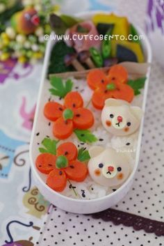 Flowers and bears #bento