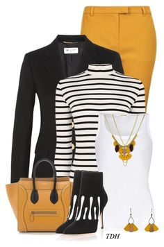 """""""Striped Jumper"""" by talvadh ❤ liked on Polyvore featuring Topshop, Yves Saint Laurent, Oasis, American Vintage, Atelier Maï Martin, CÉLINE and Manolo Blahnik"""