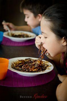 Jjajangmyun, the Korean-Chinese noodles with black bean paste... what every Korean kid loves!