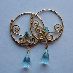 Aegean  Blue Tourmaline and Swiss Blue Topaz Hoops by pippijewelry, $141.00
