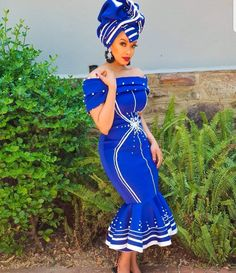 If you're looking for the trendiest, beautiful and latest AFRICAN WEDDING DRESSES then you're in for a trending African wedding styles Sesotho Traditional Dresses, Zulu Traditional Attire, South African Traditional Dresses, Traditional Fashion, Traditional Styles, African Print Dresses, African Fashion Dresses, African Dress, African Wear