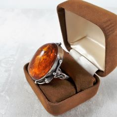 Genuine Baltic Amber Sterling Silver Ring, Statement Ring by RhinestoneValley on Etsy