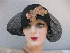 1920's Horsehair Helmet Cloche with Halo Brim and Velvet Flowers...Boardwalk Empire....The Great Gatsby