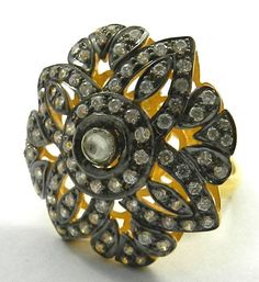 Elegant Polki Design Fine Oxidized 925 Silver Ring Jewelry With 18k Gold Plating #Magicalcollection