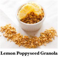 Lemon Poppyseed Granola. Tastes like the cookie but, as granola for breakfast! #cleaneating #vegan #vegetarian #glutenfree #healthy