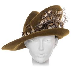 Preowned Philip Treacy Olive Wool Felt Hat ($1,500) ❤ liked on Polyvore featuring accessories, hats, multiple, feather hat, olive green hat, woolen hat, philip treacy and philip treacy hats