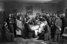 Digitally restored vintage Civil War print of President Abraham Lincoln on his deathbed Poster Print (34 x 23)