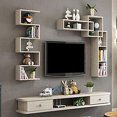 Amazon.com: Wall-Mounted TV Cabinet Wall Shelf with Drawers Floating Shelf TV Multimedia Storage Shelf Multifunctional Display Shelf Storage Cabinet 1.2M/1.4M (Color : A, Size : 140CM): Furniture & Decor Tv Unit Furniture Design, Tv Unit Interior Design, Furniture Decor, Tv Shelf Design, Lcd Wall Design, Tv Unit Decor, Tv Wall Decor, Wall Shelf With Drawer, Shelf For Tv