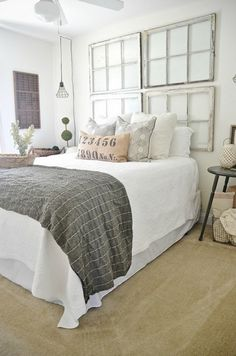 use old windows as a headboard