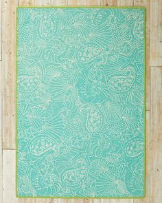 Lilly Pulitzer® Buckets o' Goodies  Hooked Blue Wool Rug, edged in lime green.