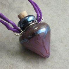 Wiccan Fog --- Lampwork Poison Bottle Necklace