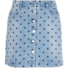 Stella Mccartney Star Denim Skirt (€275) ❤ liked on Polyvore featuring skirts, bottoms, blue, embroidered skirt, blue denim skirt, denim skirt, stella mccartney skirt and pocket skirt