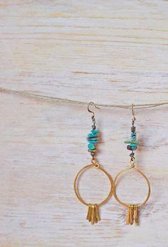 Long Turquoise and Brass Fringe Hoop Earrings by MichellesMarket, $28.00