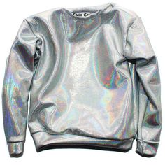 Chain Candy Fall Collection of Handcrafted luxury silver holographic fabric made into a long sleeve top. Fits as a oversized sweater with thin fabric. So it's not as warm as a sweatshirt, but fi Holographic Fabric, Holographic Fashion, Sweater Weather, Visual Kei, Long Sleeve Tops, Long Sleeve Shirts, Casual, Punk, Short Prom Dresses