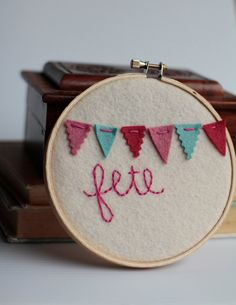 Embroidery Hoop Art HandEmbroidered Mini Bunting by CatShyCrafts, $15.00