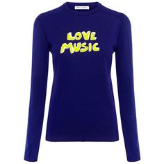 Bella Freud - Love Music Sweater (€375) ❤ liked on Polyvore featuring tops, sweaters, jumper, sweatshirt, blue jumper, woolen sweater, fine gauge sweater, letter sweater and blue top
