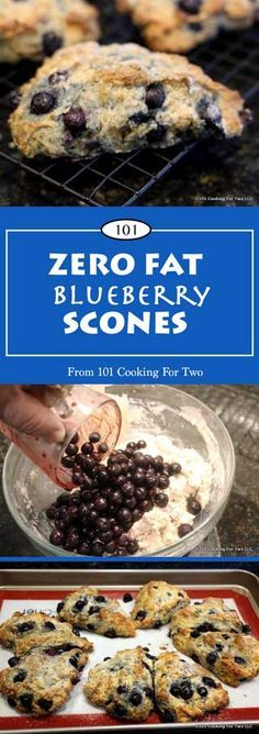 ZERO FAT BLUEBERRY SCONES | Something special for dieters.  Coming in at about 165 calories these fruit packed super easy scones fit the bill.