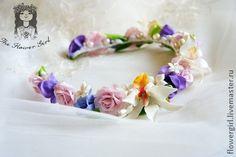 """""""Tropicana"""" - диадема,свадебное украшение,обруч для волос,венок из цветов"""
