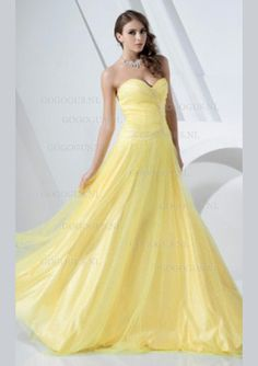 A-Line Sweetheart Neckline Floor Length Satin / Tulle Prom / Formal Evening Dress with Beading by TS Couture® - Wedding Dress Models Yellow Wedding Dress, Colored Wedding Dresses, Wedding Party Dresses, Wedding Attire, Yellow Dress, Yellow Weddings, Gold Dress, Formal Prom, Formal Evening Dresses