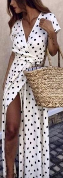 Deep V Polka Dot Maxi Dress