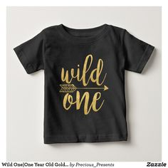 Wild One|One Year Old Gold Script #child #clothing #birthday