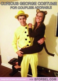 DIY cute Couples Halloween Costumes   Curious George Halloween couple costume. ACK SO CUTE   DIY