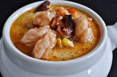 Fresh Corn Chowder with Barbecue Shrimp. Mine didn't quite LOOK like this but it was super tasty so no real complaints. I do wish it would have been a tad thicker, but that's my preference with all soups.