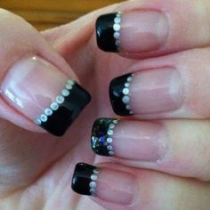 Black shadow with silver dots and Finger Paints (twisted) on ring finger