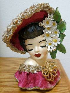 Fantastic Hand Painted GLAMOUR GIRL Vintage Lady HEADVASE Head Vase on Etsy, $125.00