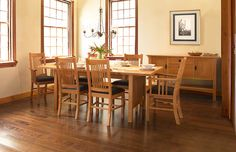 Our American Mission Style Dining Table has an elegant, traditional design and traditional solid construction. Finely crafted in Vermont from premium solid hardwoods. Choose from natural Cherry, Maple, Oak, or Walnut. It is a quality piece of American-made dining room furniture perfect for any home.