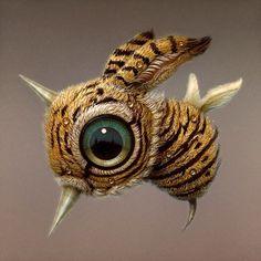Bizarre Art, Weird Art, Strange Art, Shadow Box Art, Macabre Art, Pop Surrealism, Eye Art, Cute Creatures, Fantastic Art