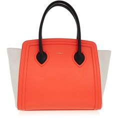 Furla College Coral Red and White Large Tote Bag ($265) ❤ liked on Polyvore featuring bags, handbags, tote bags, red, coral handbag, zip top tote, red tote handbags, handbags totes and red purse