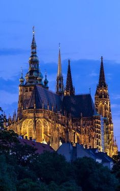St.Vitus cathedral from the east, Prague, Czechia