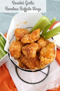 Perfectly breaded & fried chicken nuggets are tossed in a flavorful & spicy sauce in these Roasted Garlic Boneless Buffalo Wings.