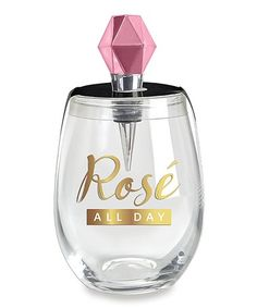 $18.99 marked down from $24.99! Rose Wine Glass & Stopper Set #rose #wine #zulilyfinds